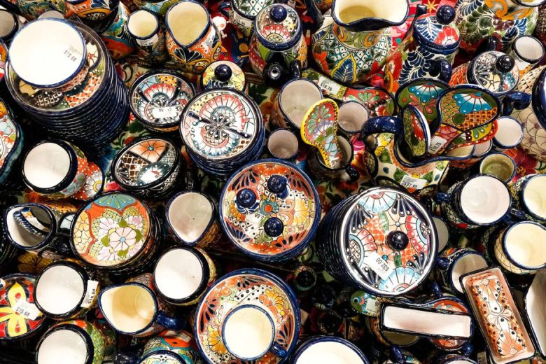 Assorted Mexican dinnerware is assembled in the center of Fiesta at North Star.