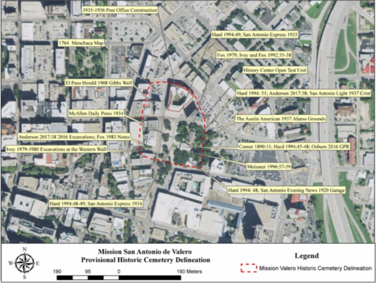 Two Native American groups have filed a request to have a large portion of the Alamo grounds designated a historic cemetery. The red line shows what the groups believe as adequate enough to protect the reported burial ground.
