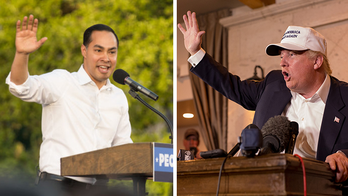 (From left) Julián Castro and Donald Trump.