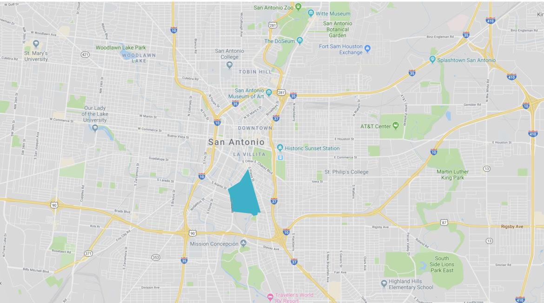The King William neighborhood in San Antonio is shaded in blue.