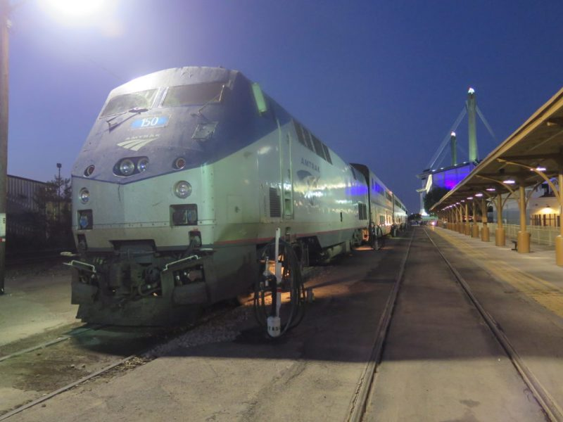 An Amtrak train is parked in the San Antonio station.