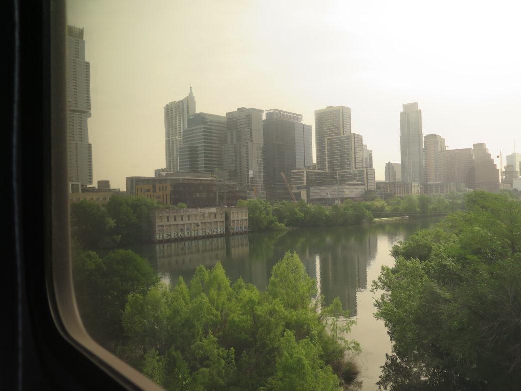 The Amtrak train approaches Austin.