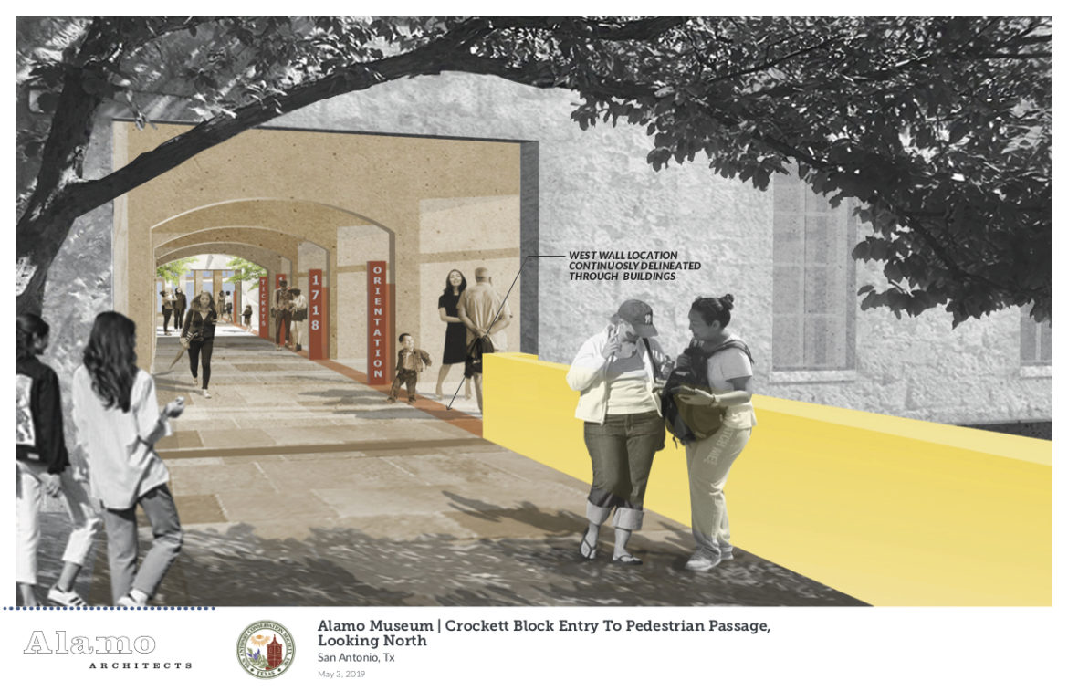 A rendering of the Alamo Museum, which depicts the Crockett block entry to the pedestrian passage looking North.
