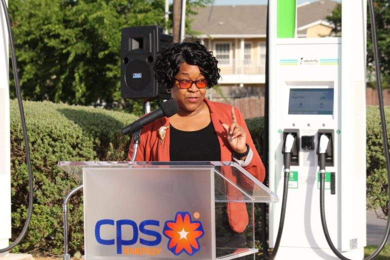 CPS Energy President and CEO Paula-Gold Williams speaks at a media event announcing a new fast electric vehicle charging station at Walmart off of Thousand Oaks.