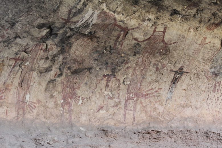 A series of human-looking figures with hip ornamentation distinct to the Seminole Canyon area.