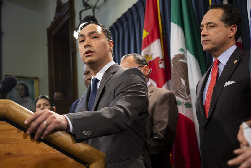 U.S. Rep. Joaquin Castro, D-San Antonio, speaks at the Texas Senate Democratic Caucus Press Conference on April 17, 2019.