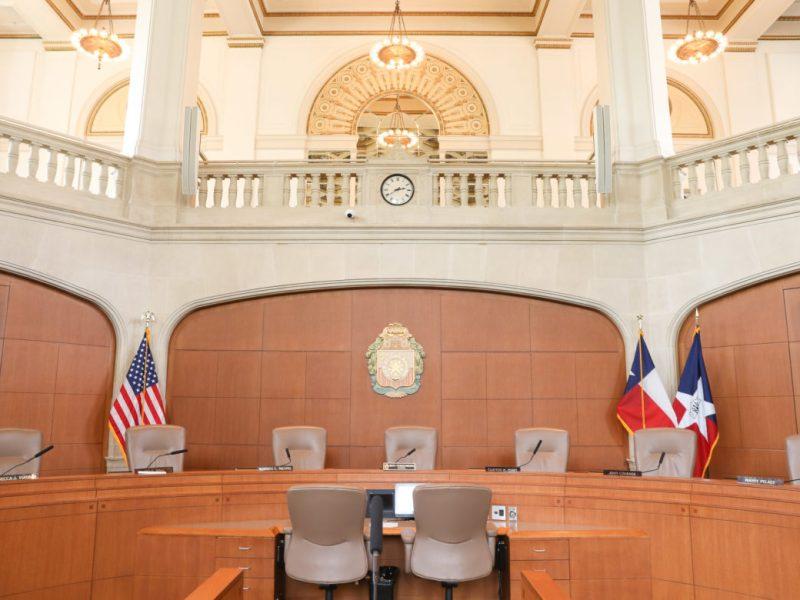 The San Antonio City Hall Council Chambers at the Municipal Plaza Building.