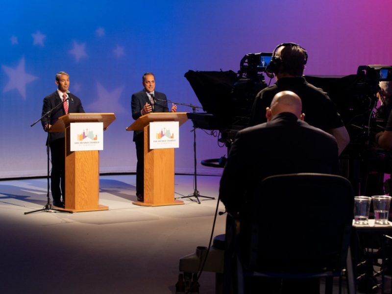 Mayor Ron Nirenberg and Councilman Greg Brockhouse (D6) participate in their final debate in the 2019 mayoral race.