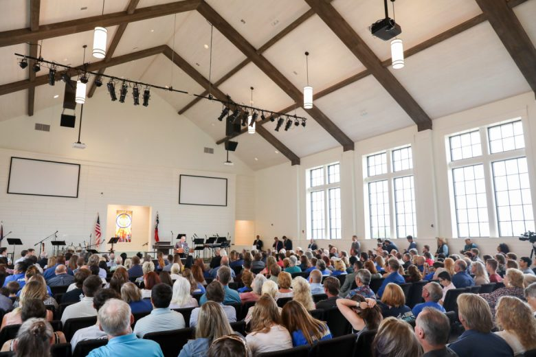 Governor Greg Abbott speaks to a full congregation at the new First Baptist Church of Sutherland Springs.