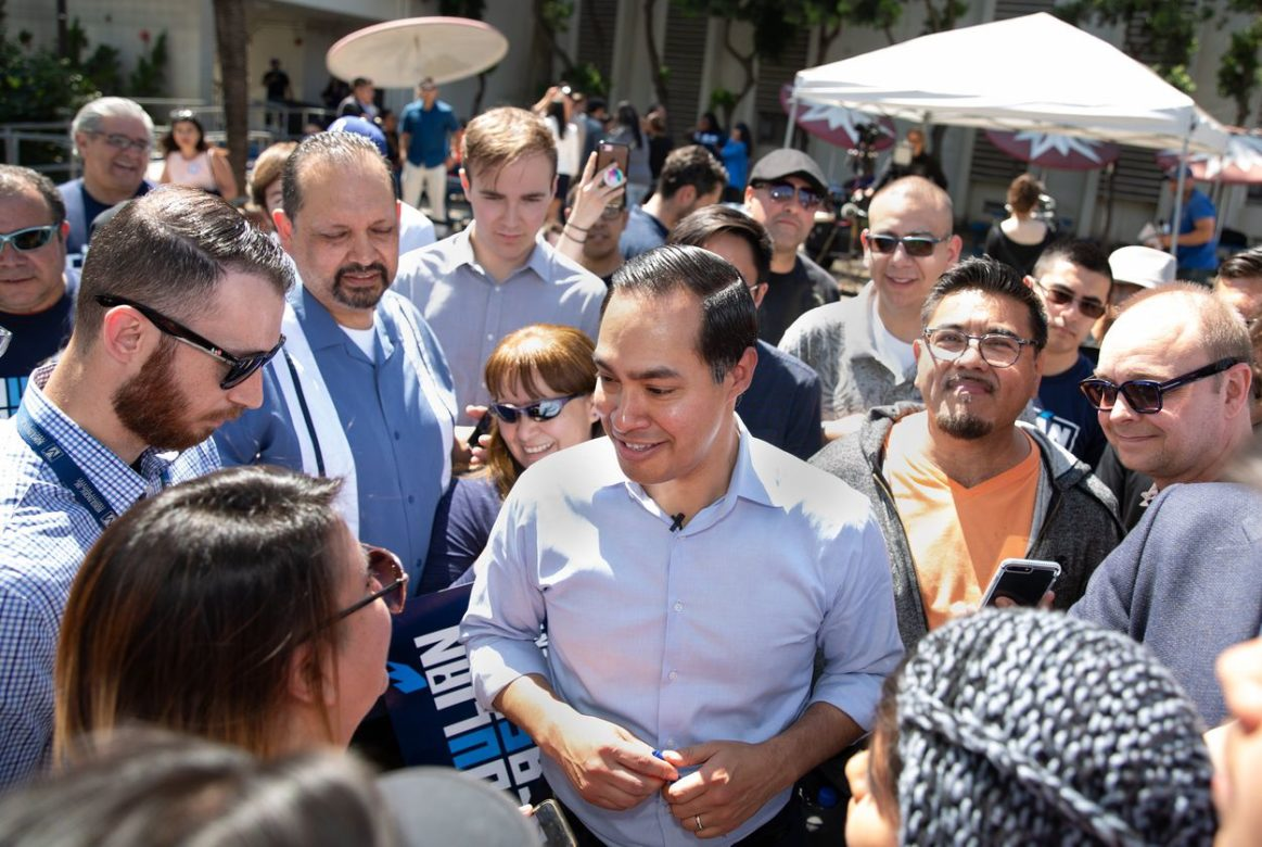 Presidential candidate Julián Castro greets supporters at a rally at James Garfield High School in East Los Angeles on April 6, 2019. Arlene Mejorado for The Texas Tribune