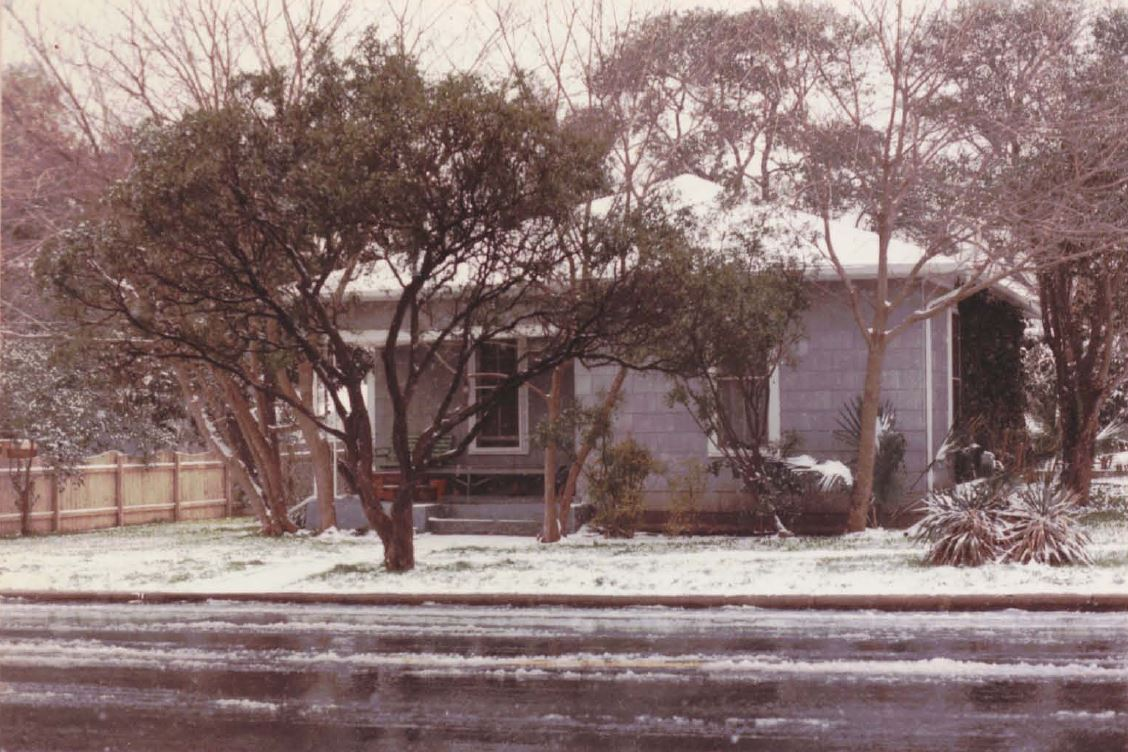 Don's home following a rare snowfall in the mid '80s.