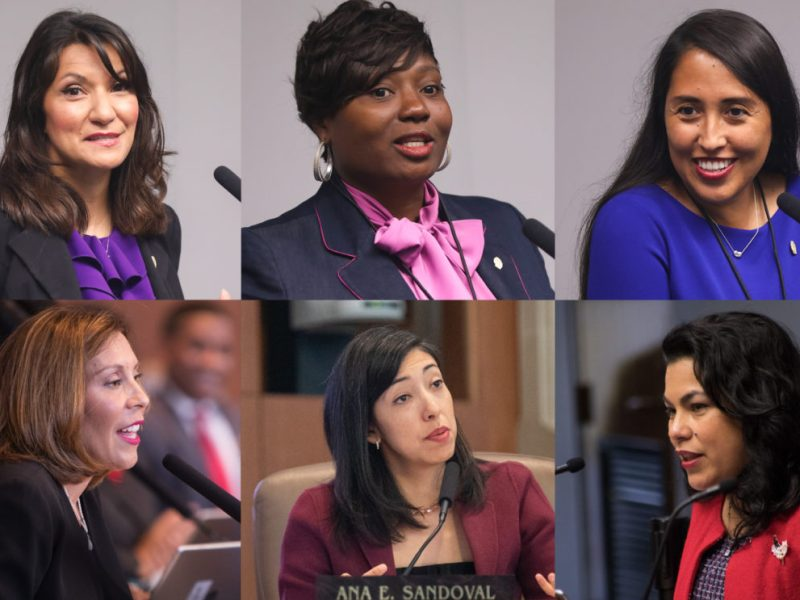 (clockwise from top left) Councilwoman Melissa Cabello Havrda (D6), Councilwoman Jada Andrews-Sullivan (D2), Councilwoman Adriana Rocha Garcia (D4), Councilwoman Rebecca Viagran (D3), Councilwoman Ana Sandoval (D7), and Councilwoman Shirley Gonzales (D5) make up the majority of members of San Antonio's City Council.