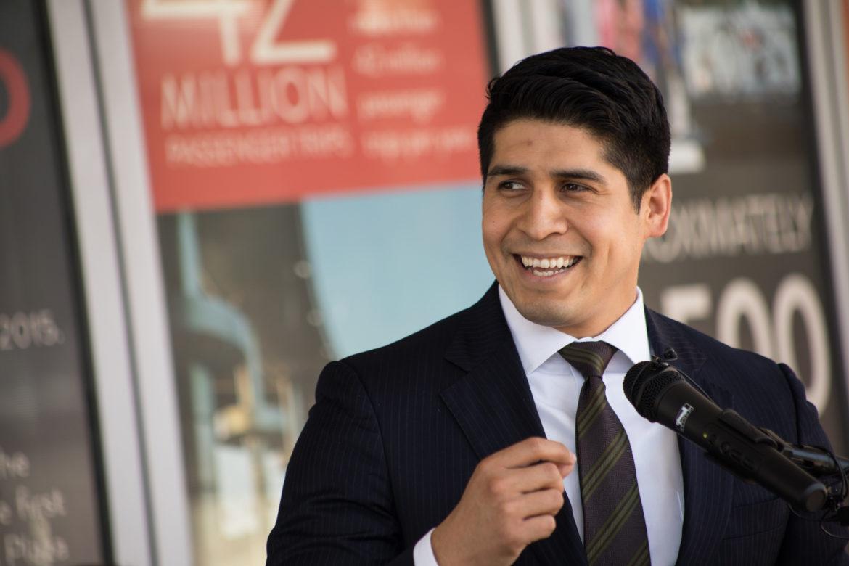 Outgoing Councilman Rey Saldaña (D4) accepts the role as Via Metropolitan Transit Board chair.