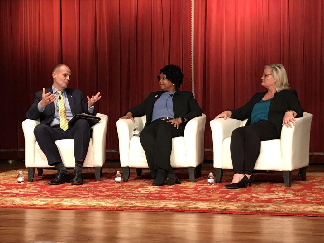 From left, Jan Vrins of Navigant Consulting, CPS Energy President and CEO Paula Gold-Williams, and JEA Vice President and Chief Customer Officer Kerri Stewart, speak on a panel.