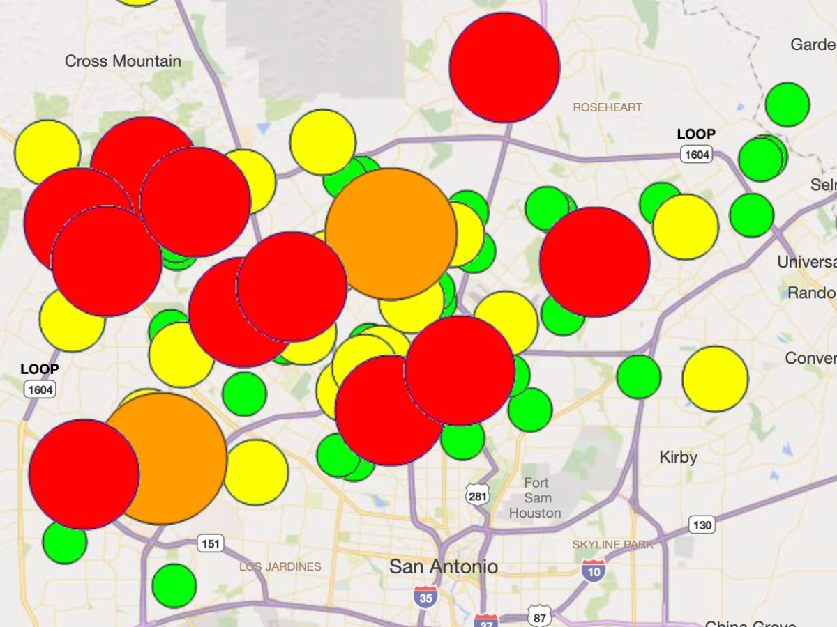 A CPS outage map shows a large portion of Northwest San Antonio is without power following afternoon thunderstorms.