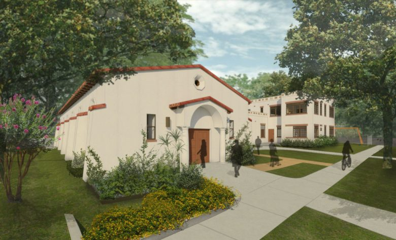 A rendering of the exterior of HNS.