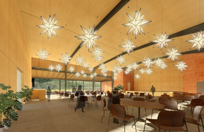 A rendering of the event hall at HNS.