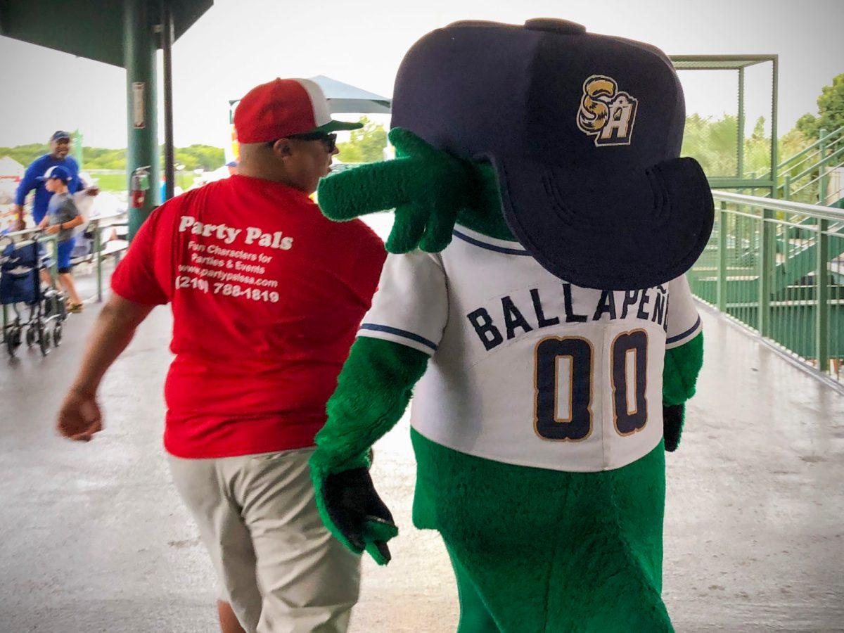 The San Antonio Missions AAA baseball club mascot 'The Ballapeño'.