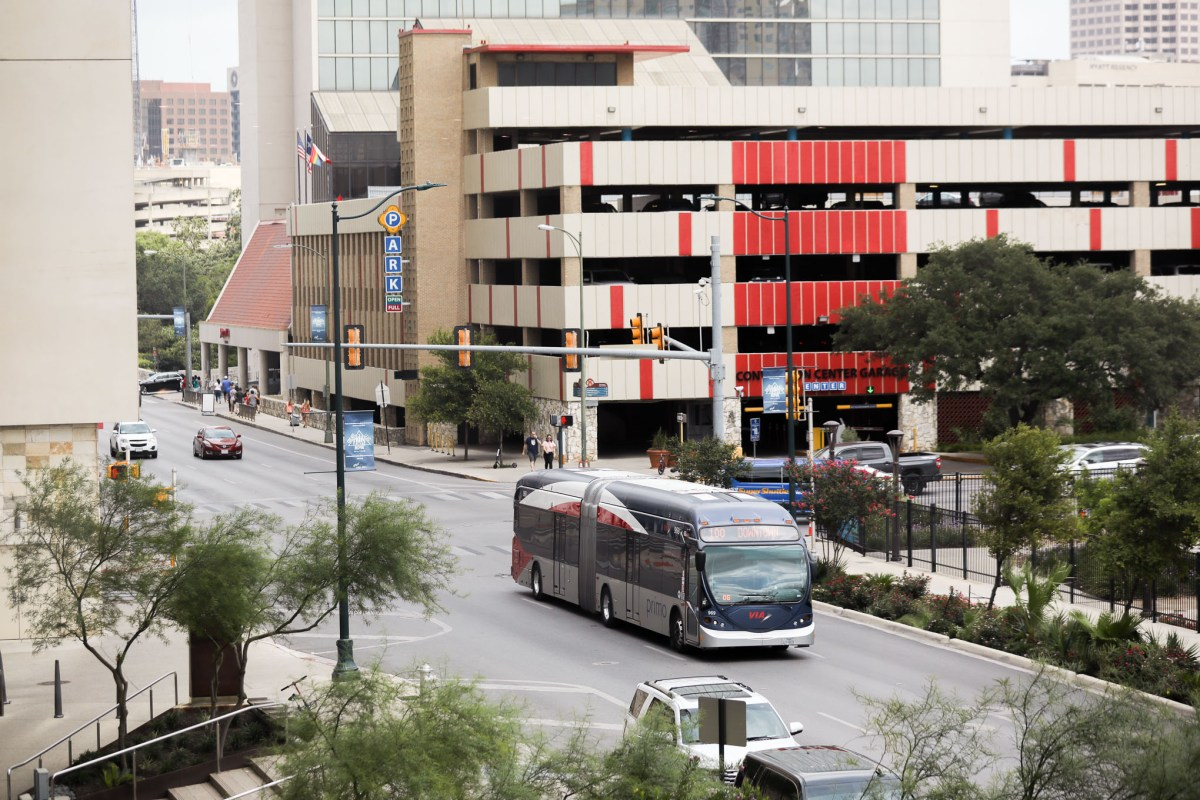 The Primo bus by VIA travels down Market Street in downtown San Antonio.