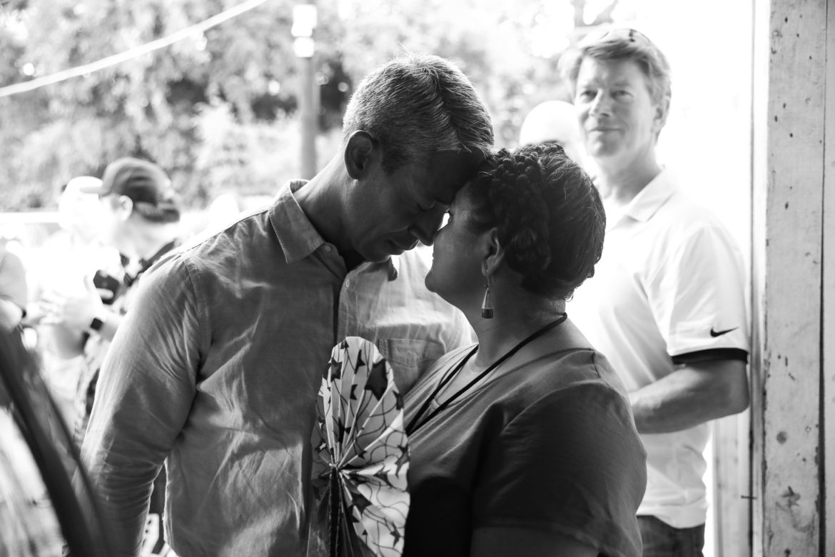 After early voting totals were released, Mayor Ron Nirenberg and wife Erika Prosper share a moment before they address supporters at the campaign party.