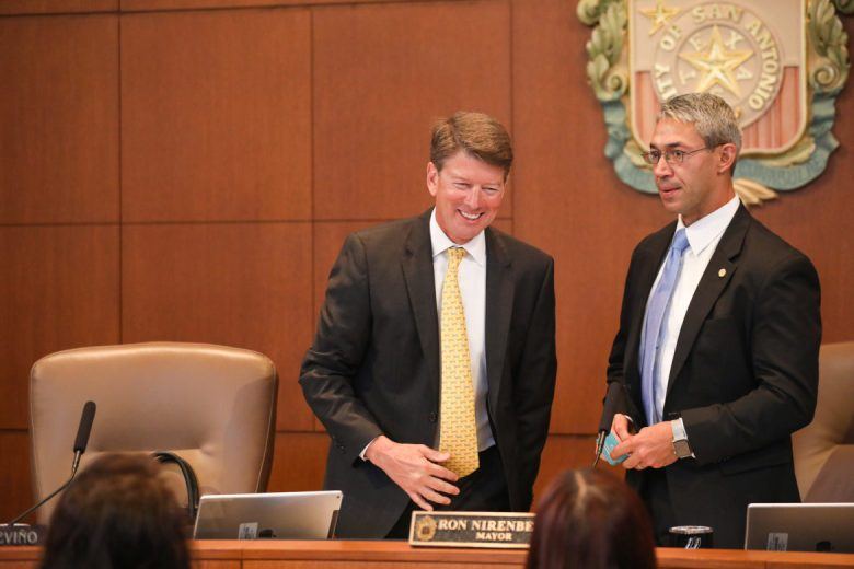 The Mayor's Office Chief of Staff Jim Greenwood and Mayor Ron Nirenberg meet before City Council on Thursday.