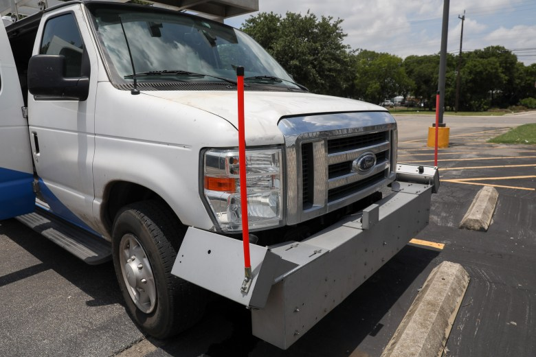 Front lasers measure clearance from the ground which will interpret uneven surfaces such as speed bumps and potholes.