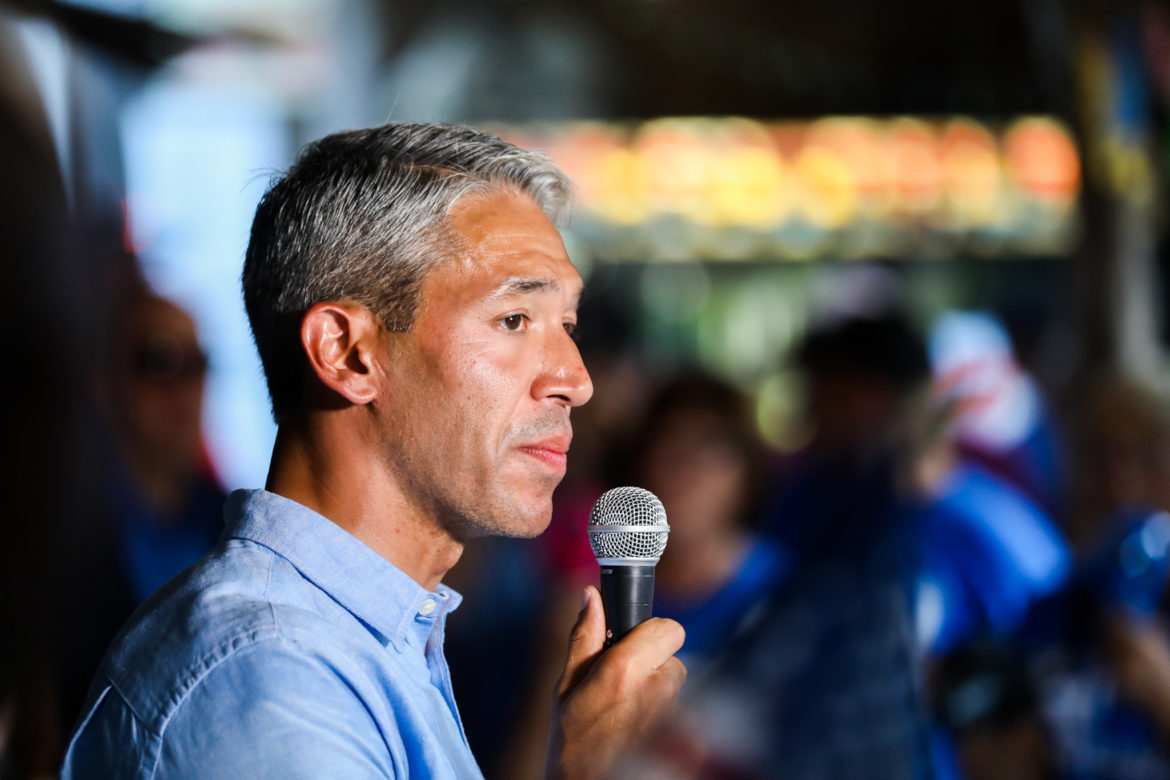 Mayor Ron Nirenberg addresses supporters during election night at his campaign watch party.
