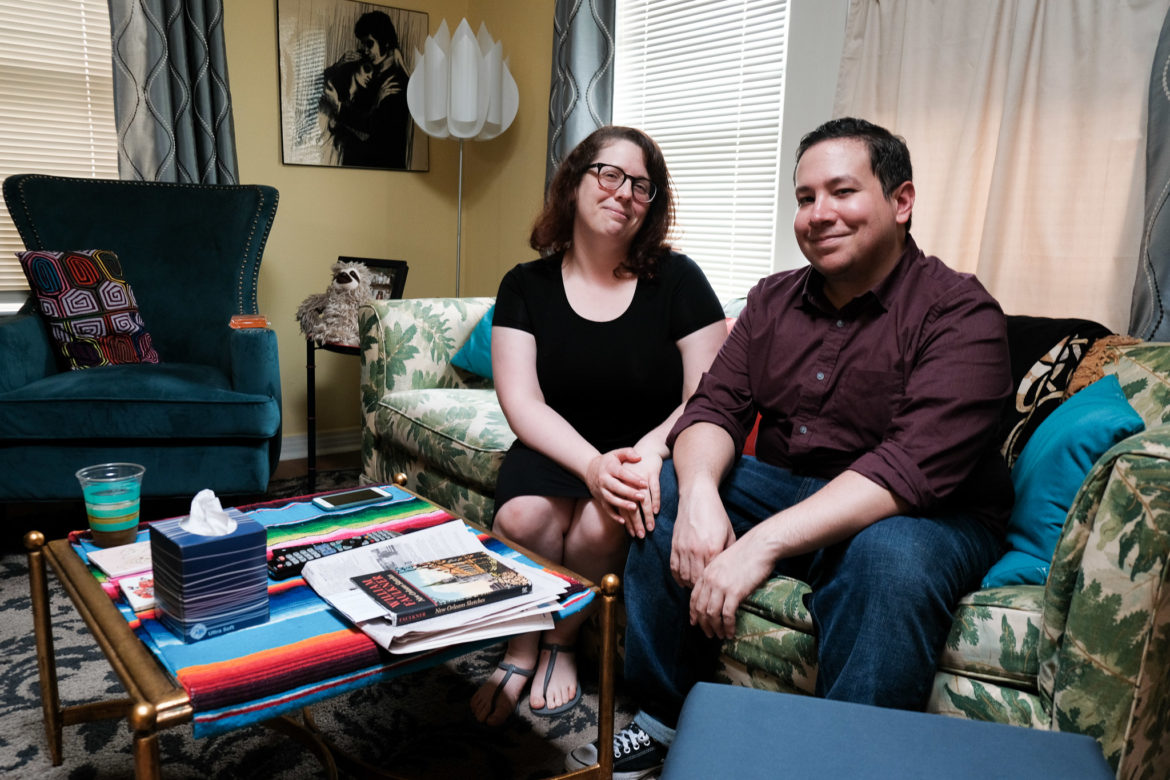 Dominic Gonzalez and his girlfriend at their Los Angeles Heights home.
