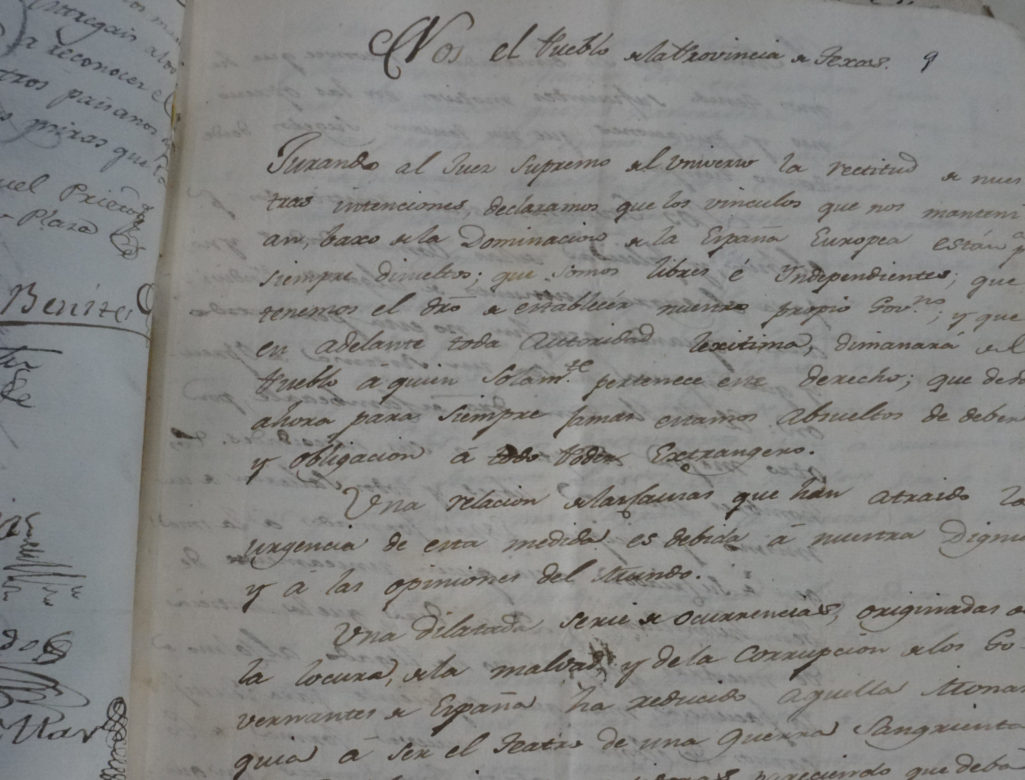 The First Page of the Original Texas Declaration of Independence