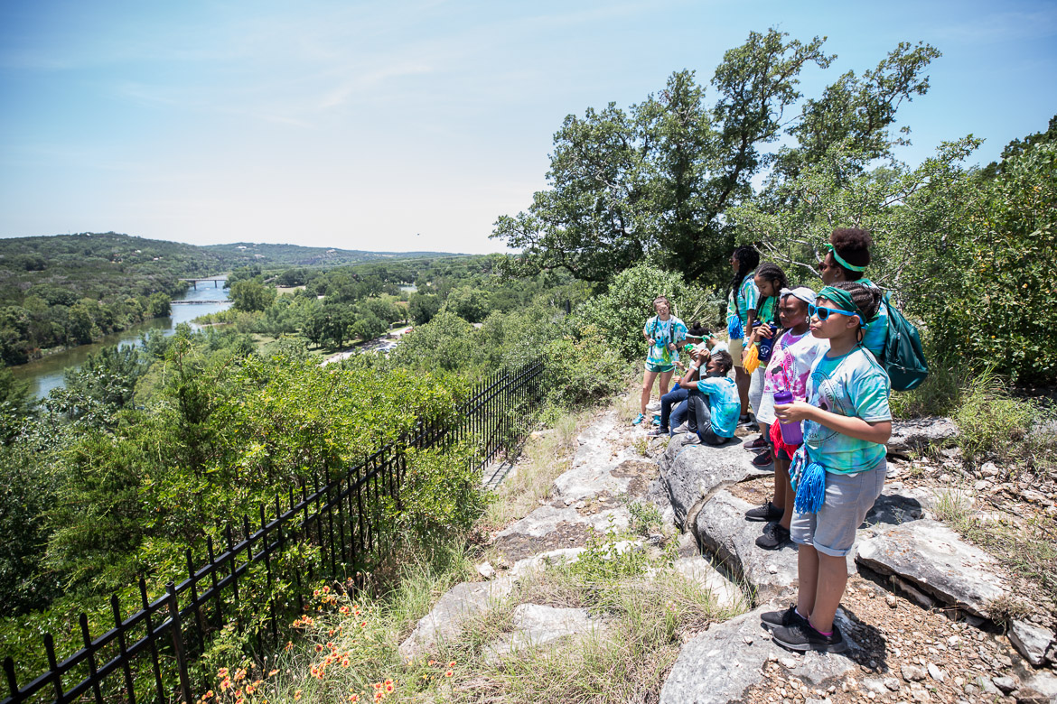Camp Founder Girls overlooking the Guadalupe River on June 19, 2019.