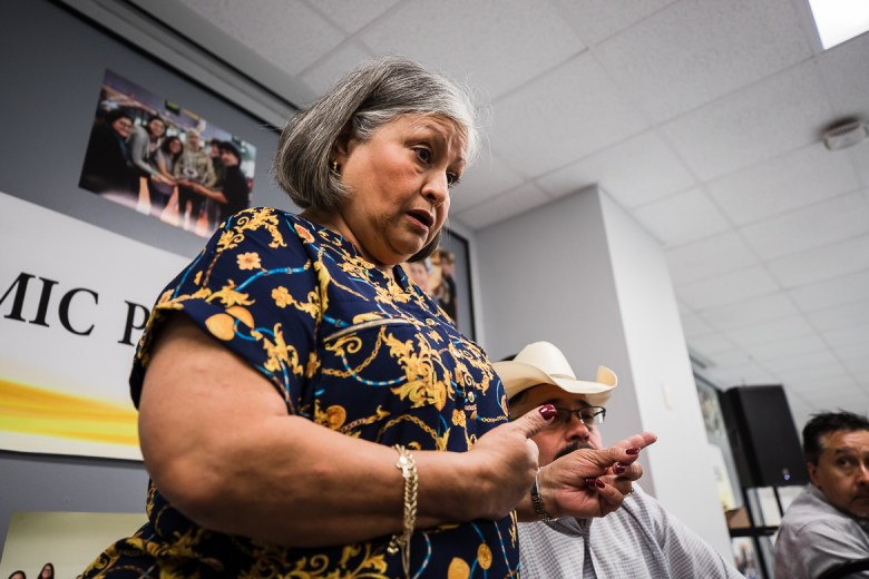 Gina Castanda speaks her concerns at the HISD after board meeting walked into closed session on June 13, 2019.