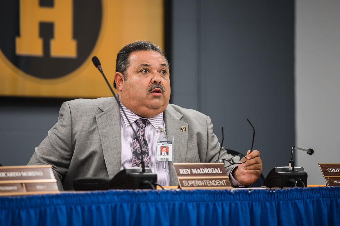 Superintendent Rey Madrigal at the HISD board meeting on June 13, 2019.