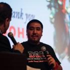 John Martinez, CEO of Direct Motion Technologies speaking at Pecha Kucha San Antonio 34 at La Villita on June 11, 2019.