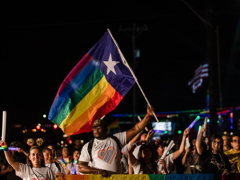 Hyatt employees march at the Pride Bigger Than Texas Parade on June 29, 2019.