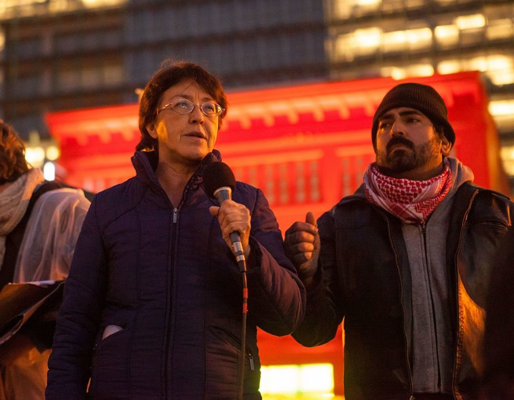 Gloria La Riva speaks at a rally against President Donald Trump at United Nations Plaza in San Francisco on January 20, 2017.