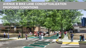 The City proposes implementing a separated bike lane on Avenue B in addition to landscaping.