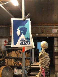 A poster created by Cruz Ortiz supporting Presidential candidate Julián Castro hangs in Cruz Ortiz's studio.