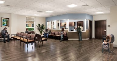 A rendering of the Baptist Medical Center lobby.