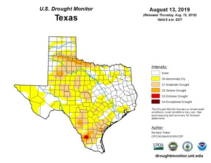 The most recent U.S. Drought Monitor shows most of Texas in drought.