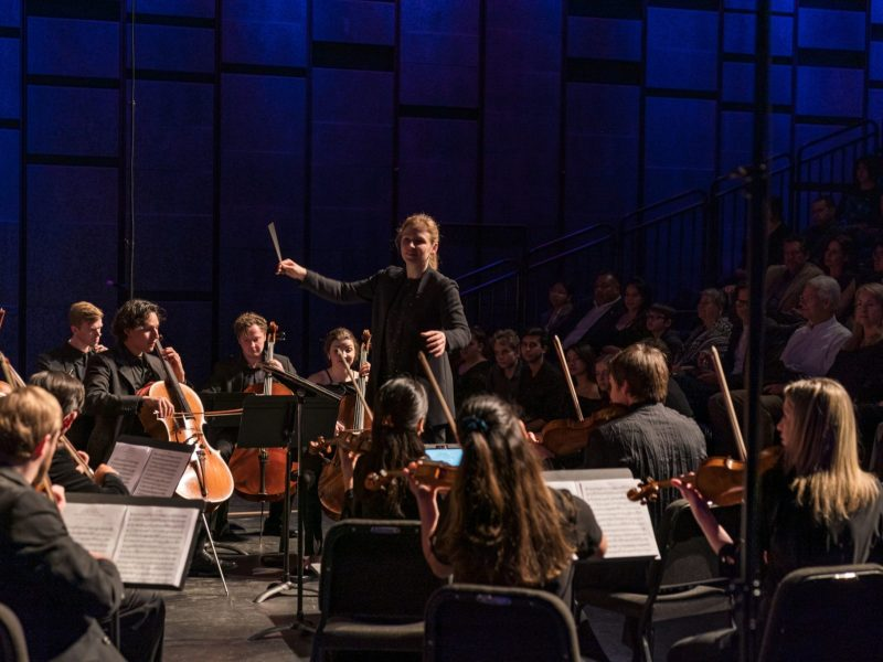 Guest conductor Gemma New leads the Classical Music Institute chamber orchestra during a February 2019 concert at the Tobin Center for the Performing Arts.