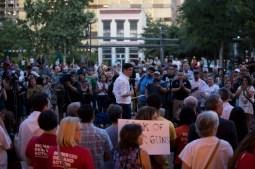 Michael Montaño leads the vigil in Main Plaza.