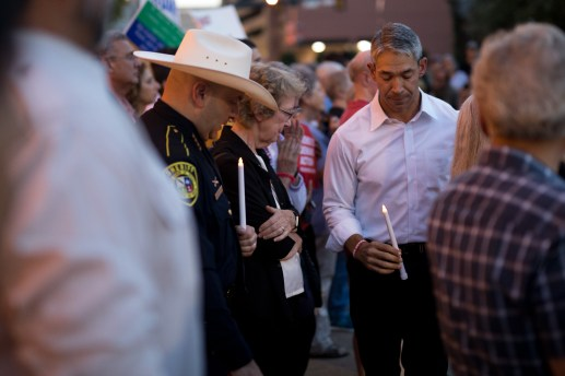 Mayor Ron Nirenberg attends the community vigil in the wake of mass shootings in El Paso and Dayton, Ohio.