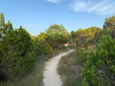 A smooth sections of the trail that makes for ales difficult ride/walk; other areas present a more rocky terrain.