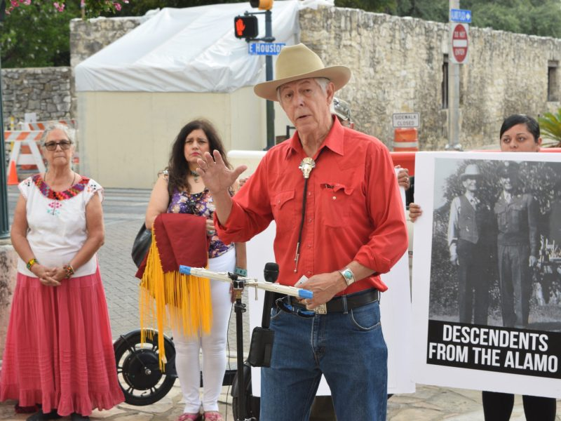 Mickey Killian, a San Antonio resident who traces his lineage to indigenous people living at the Spanish colonial missions, speaks at a press conference over a legal fight about Native American remains at the Alamo.