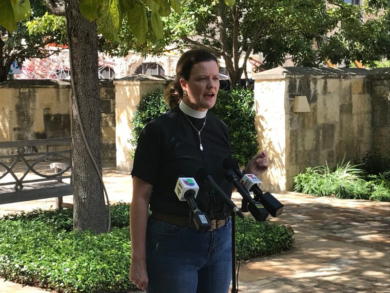 The Rev. Elizabeth Knowlton, rector of St. Mark's Episcopal Church, speaks to reporters after a scaffolding collapse that damaged one of the church's buildings.
