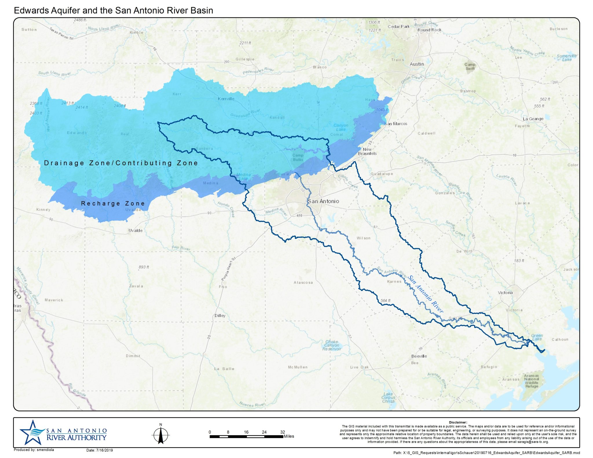 A map shows the boundaries of the watershed of the San Antonio River (blue line) layered over the Edwards Aquifer Recharge Zone (dark blue) and Contributing Zone (light blue).