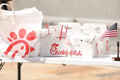 Chick-fil-A food is displayed at a press conference.