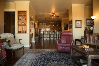 Cathey Meyer's living room inside La Cascada Condominiums.