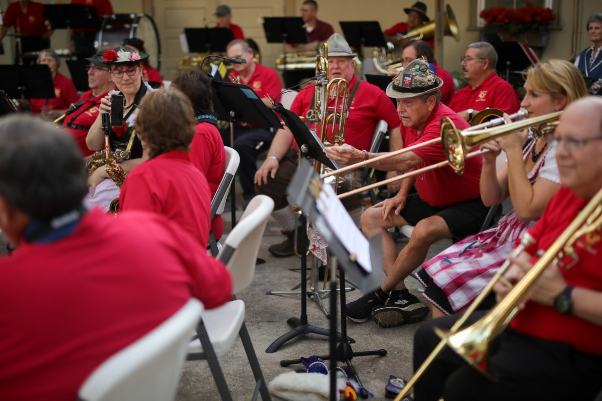The Beethoven Concert Band prepares for their performance during opening night of Oktoberfest at Beethoven Maennerchor.