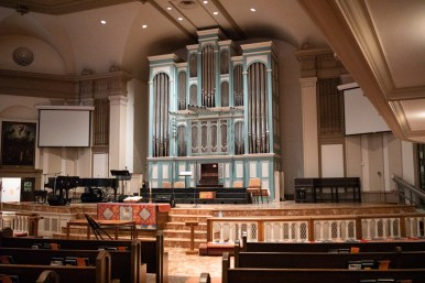 The pipe organ in the sanctuary of Travis Park Church